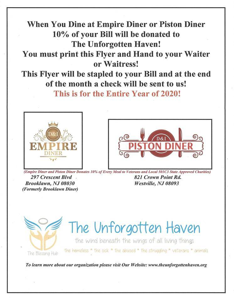 Empire Diner and Piston Diner Flyer